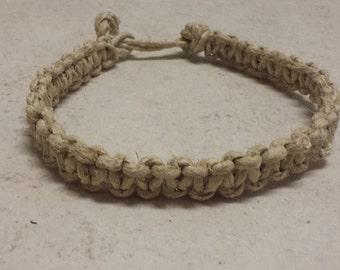 Classic Natural Color Thick Hemp Choker Necklace, Adjustable Length