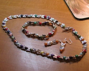 Multicolor Glass Butterfly Necklace Set
