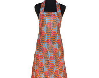 Orange (Blue and black accents) ankara kitchen/cooking apron