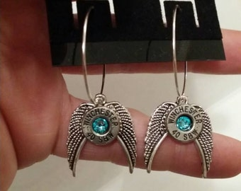 Bullet Casing Hoop earrings w/ wings
