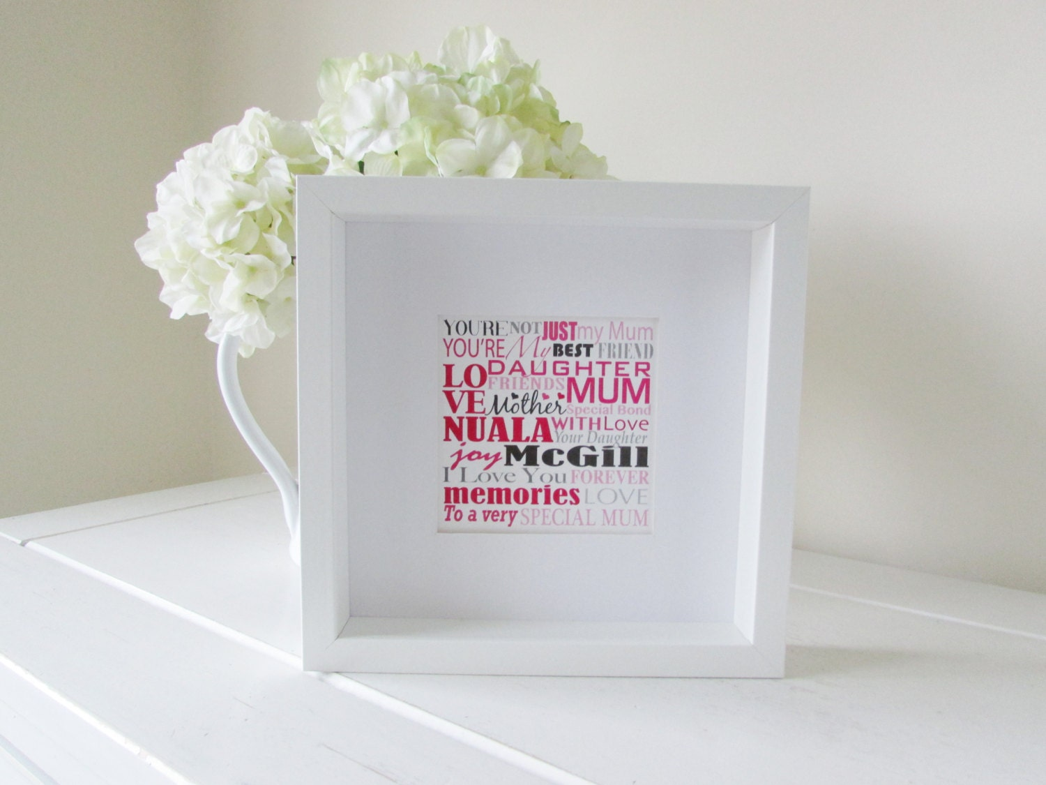 Personalized Mothers Day Gift Framed Print Personalised Word