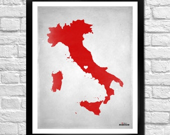 Italy Map Personalized Art Print