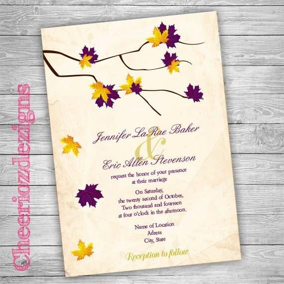 Fall Themed Wedding Invitations: Wedding Invitation Printable Fall Theme Leaves By