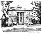 Belmont Mansion, signed/numbered print from pen-and-ink drawing
