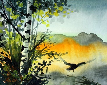 Original Watercolor Painting -  Landscape by Tara Tet