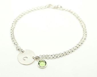 Sterling silver initial Bracelet with Birth Stone- Silver Disc Bracelet - Personalized Bracelet - Bridesmaid Bracelet - Mothers Bracelet
