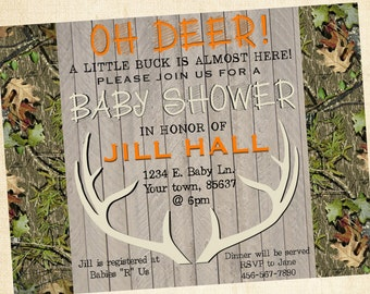 Hunting Baby Shower Invitation (orange)