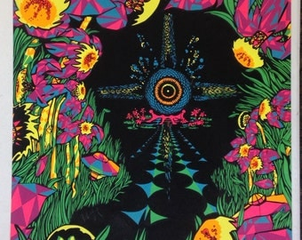 """Psychedelic Black Light Poster by MICHAEL RHODES 1970 Original Vintage Rare, """"One Sweet Dream"""", Third Eye Inc."""