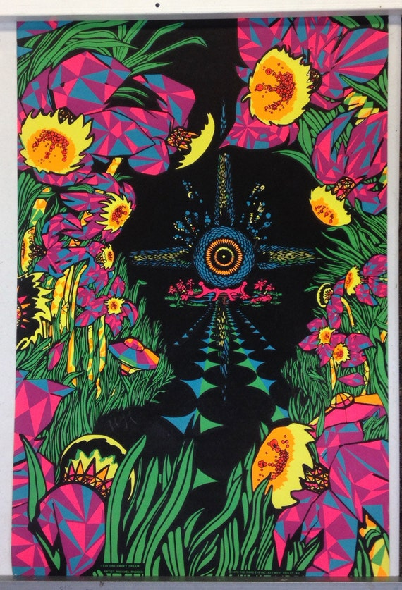 Items Similar To Psychedelic Black Light Poster By Michael
