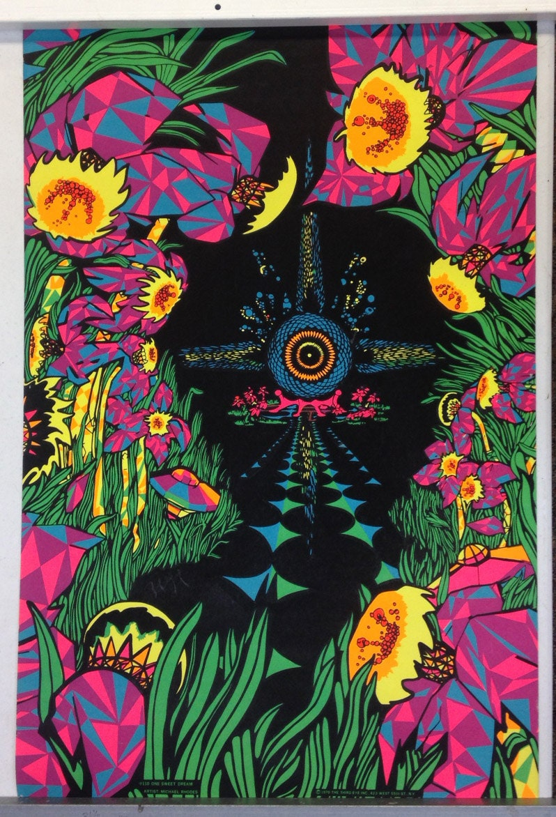 Psychedelic Black Light Poster by MICHAEL RHODES 1970 Original