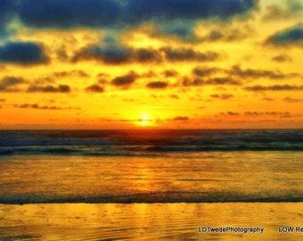 Sunset Photograph, Reflection Photo, Water Reflection, Seascape, Seashore, Coastal Art, Nautical, Dramatic Sky, Beach Art, Oregon Sunset
