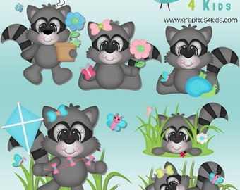 Spring Racoon Digital Clipart - Clip art for scrapbooking, party invitations - Instant Download Clipart Commercial Use