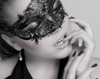 New Masquerade Mask, Metal Filigree Crown,Laser Cut Masquerade Ball Mask, Detailed with Clear Swarovski Rhinestones,Masquerade Mask 1