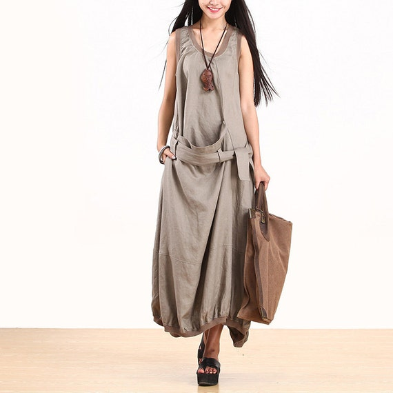 women maxi dress linen dress long summer dress cotton dress O-Neck dress Casual dress loose dress short sleeve dress