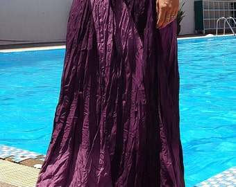 Long Gypsy Skirt - Boho- Lightweight - Elasticated Waist - Fade Tones-Purple