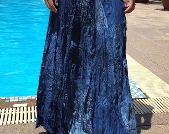 Long Gypsy Skirt - Boho - Lightweight - Elasticated Waist - Fade Tones-Dark Blue