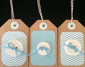 Three Aqua Gift Tags