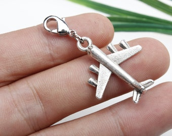 Own Charm ~ 22x28mm Antique silver 3D planes airplanes aircrafts Charms Pendants