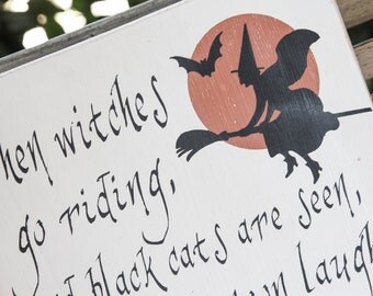 Vintage Halloween Wood Sign - Witch and moon