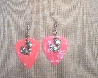 Guitar Pick with Cat Charm Earrings