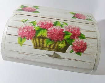 Best Seller: White Roll Top Wooden Bread Box Decoupaged with Hydrangea Flowers + FREE GIFT