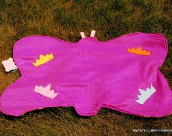 Childs custom handmade butterfly shaped fleece blanket