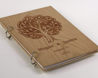 Laser Engraved Cherry Wood, Custom Wedding-Anniversary-Bridal Shower Gguest Book, Gift for Couple, Personalized Gift, Birthday Gift, Rustic