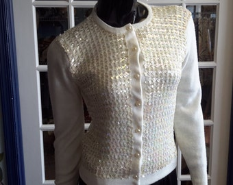 Haddington vintage 1960 white sequined sweater for women.