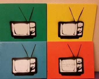 Multi Television Room Stenciled 80's black and white TV 11x14 Pop-esque colored canvas