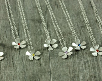 Handcrafted Sterling Silver Forget Me Not Necklace – Delicate Blossom Necklace