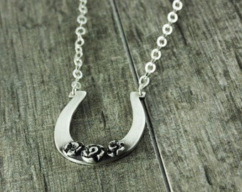 "Horseshoe Necklace Fine Silver ""Lucky to Find Love"""