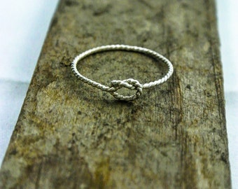 Best Friends Ring Sterling Knot Ring  Love Knot Ring Twisted Silver Ring Handmade Friendship Ring, Valentine's Day Gift
