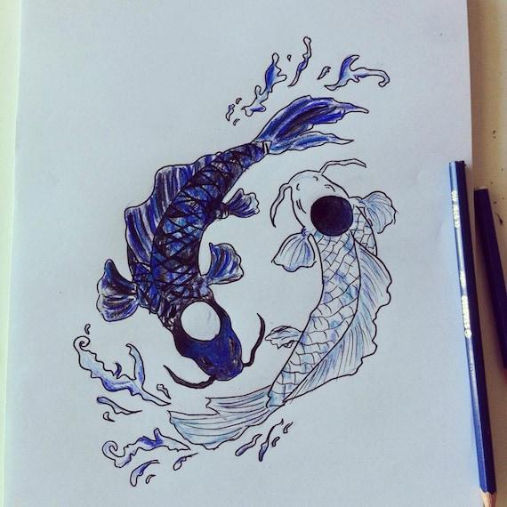 Items similar to Koi Fish Yin and Yang Tattoo Draft on Etsy