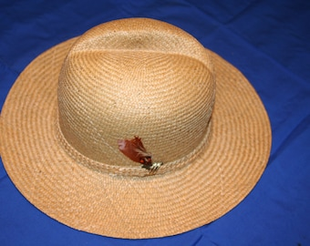 1980's Vintage Woman's straw Fedora style hat