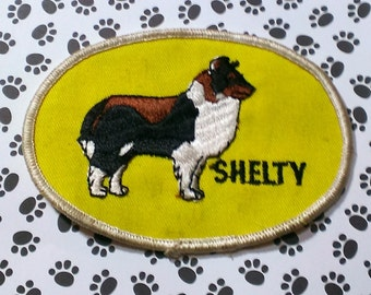 """Vintage 1960's """"Shelty'' Dog Breed   Nicely Embroidered Iron-On  Patch 4 1/4'' X 3''"""