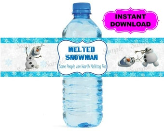 "Frozen Water Bottle Label - Printable - Digital - Birthday Party -  Instant Download -  - Olaf Elsa Anna - 2"" x 8.25"""