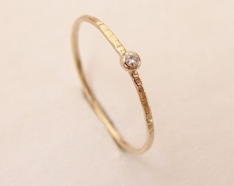 Diamond Ring - Delicate Diamond Engagement Ring - Thin Diamond Stacking Ring - 14k Gold - Hammered Diamond Ring - Simple Engagement Ring