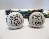 Ceramic Hardware Black and White Route US 66 Knob Decor Home Accessory