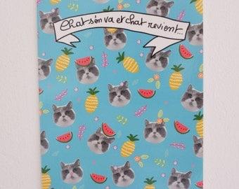 "Postcard ""cat goes and cat returns"""
