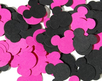 100 Pink/Black Mickey Mouse Confetti, Mickey Mouse Birthday, Mickey Mouse Baby Shower, Mickey Party, Disney die cuts