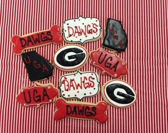University of Georgia Bulldogs Sugar Cookies