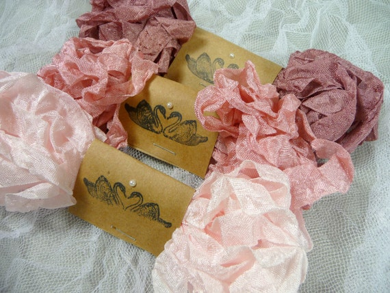 Crinkled Ribbon Hand Scrunched or Straight Pink Mix Vintage