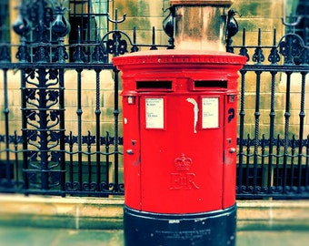London Photography, Red Mailbox, Fine Art Print, Wall Art, British Decor, England Photo, London Art, 11 x 14 Print, 16 x 20 Print,