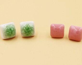Ceramic Jewelry-ear Studs, Pink, Green