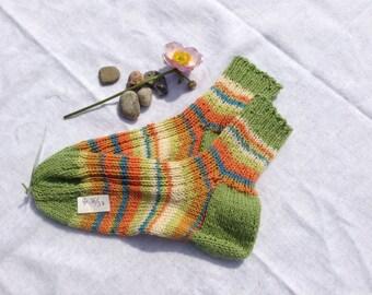 Cotton socks Gr. 36 / 37 green Orange turquoise colored