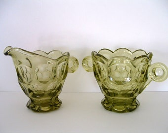 Imperial Glass Provincial Sugar Bowl & Creamer Olive Green With Heisey Mark