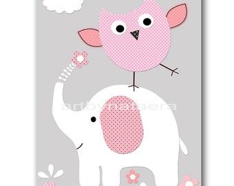 Elephant Nursery Digital Print Printable Art Baby Girl Nursery Children Art Kids Wall Art Owl Baby Girl Print 8x10 11X14 INSTANT DOWNLOAD