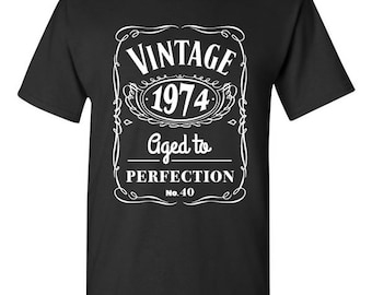 40th Birthday Gift Vintage 1974 T-s hirt Tshirt Tee Shirt Dads Moms ...