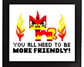 Angry kitty & MEGA Kitty - You all need to be more friendly! 2-for-1 cross stitch art pattern from LEGO movie Uni Kitty DIY pot holder size