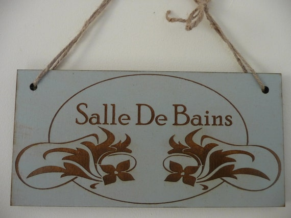 Bathroom sign salle de bains sign french bathroom door sign for Salle de bain door sign